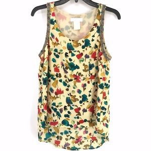 MM Couture Floral Watercolor Beaded Top